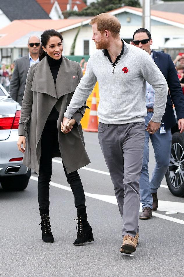 Prince Harry wears a sweater in Australia in 2018.