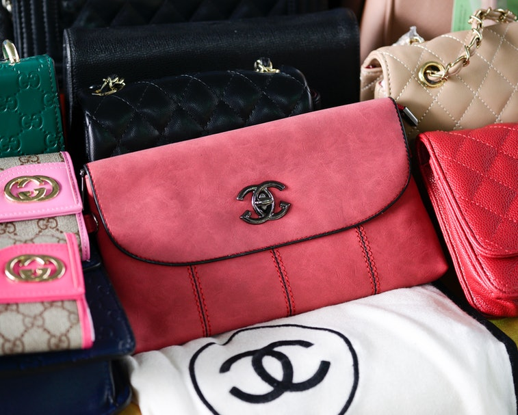 Counterfeit goods on display during a media briefing at Customs department in Bangkok, Thailand, 02 ...