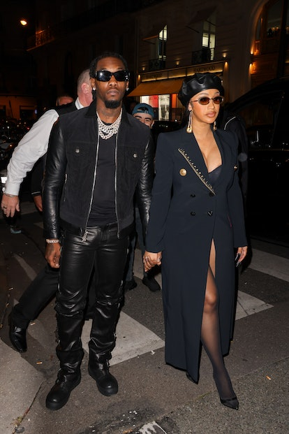 PARIS, FRANCE - SEPTEMBER 29: Cardi.B and Offset are seen arriving at a party near The Champs-Élysée...