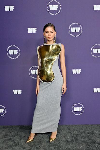 LOS ANGELES, CALIFORNIA - OCTOBER 06: Crystal Award Honoree Zendaya attends the Women in Film Honors...