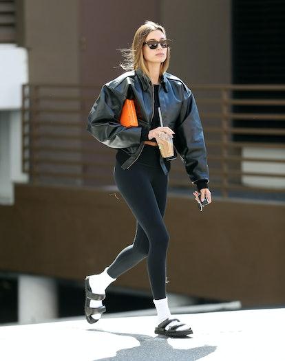 LOS ANGELES, CA - OCTOBER 05: Hailey Bieber is seen on October 05, 2021 in Los Angeles, California. ...