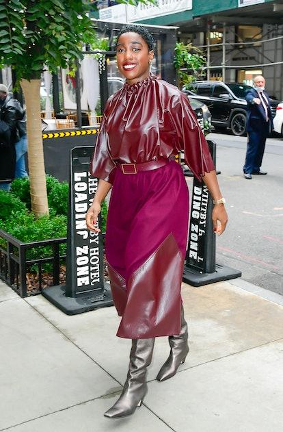 NEW YORK, NY - OCTOBER 06:  Actress Lashana Lynch is seen walking in SoHo on October 6, 2021 in New ...