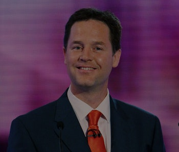 British opposition Liberal Democrat leader, Nick Clegg participates in the final of three live telev...
