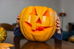 Child get ready for Halloween party