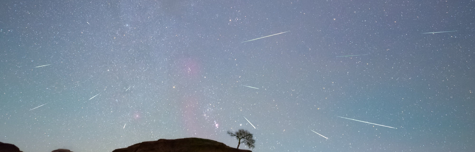 DAQING, CHINA - OCTOBER 22, 2020 - The Orionids meteor shower is seen over the Songhua River in Daqi...