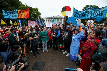 On Indigenous People's Day 2021, hundreds of Native Americans and supporters of environment advocacy...