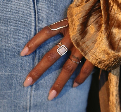 The best nude nail colors for dark skin include warm peachy and beige tones.