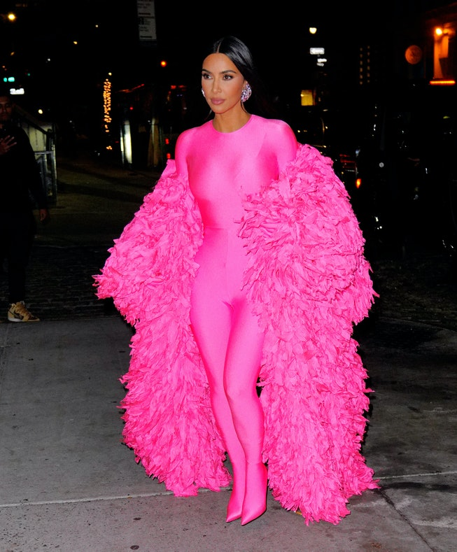 """NEW YORK, NEW YORK - OCTOBER 10: Kim Kardashian arrives at the afterparty for """"Saturday Night Live"""" ..."""