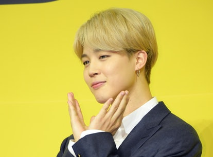 """Jimin of BTS at a 2021 press conference for """"Butter."""""""