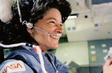 American astronaut and scientist Sally Ride, as STS-7 mission specialist, (1951 - 2012) is pictured ...