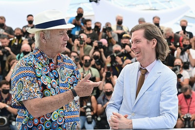 """CANNES, FRANCE - JULY 13: (L-R) Bill Murray and Director Wes Anderson attend the """"The French Dispatc..."""
