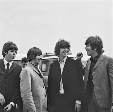 British rock group the Beatles at London Airport (later Heathrow), UK, 13th August 1965. They are on...