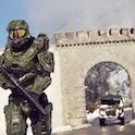 BALZERS, LIECHTENSTEIN - OCTOBER 29: Master Chief stands guard at the Liechtenstein border during th...