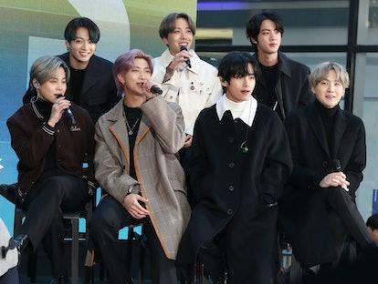 NEW YORK, NEW YORK - FEBRUARY 21:  (L-R) Jimin, Jungkook, RM, J-Hope, V, Jin, and SUGA of the K-pop ...