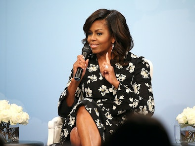 WASHINGTON, DC - OCTOBER 11:  First Lady of the United States Michelle Obama speaks during a panel d...