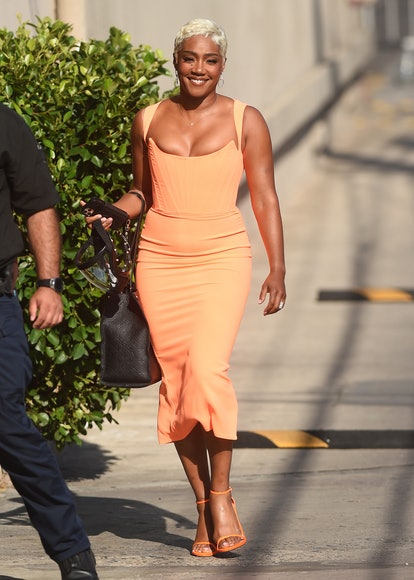 """LOS ANGELES, CA - SEPTEMBER 07: Tiffany Haddish is seen arriving at """"Jimmy Kimmel Live!"""" in September..."""