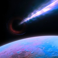 Illustration of the M87 black hole and its accretion engine seen from a nearby planet. M87's central...