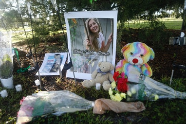 NORTH PORT, FL - SEPTEMBER 20: A makeshift memorial dedicated to missing woman Gabby Petito is locat...