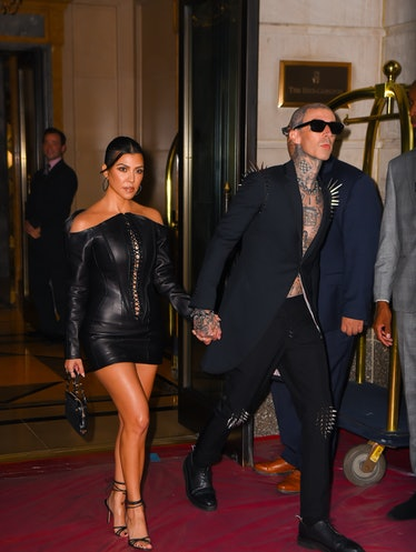 NEW YORK, NEW YORK - SEPTEMBER 12: Kourtney Kardashian and Travis Barker seen out before attending t...
