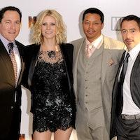 (L-R) Jon Favreau, Gwyneth Paltrow, Terrence Howard and Robert Downey Jr arrives for at the UK chari...