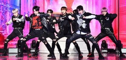 SEOUL, SOUTH KOREA - APRIL 26: ENHYPEN attends the showcase for ENHYPEN's new album 'BORDER : CARNIV...
