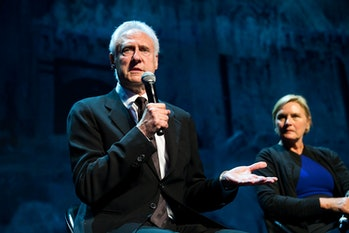 SEATTLE, WA - MAY 20:  Actors Brent Spiner and Denise Crosby speak at the opening night of the Star ...