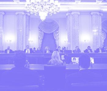 Committee Senators listen as former Facebook employee and whistleblower Frances Haugen (C) testifies...