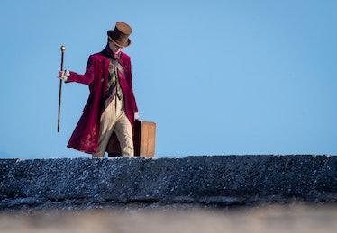 Timothée Chalamet as Willy Wonka during filming for  'Wonka'