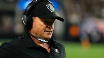 LAS VEGAS, NEVADA - SEPTEMBER 13: Head coach Jon Gruden of the Las Vegas Raiders looks on from the s...