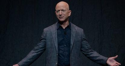 Amazon CEO Jeff Bezos announces Blue Moon, a lunar landing vehicle for the Moon, during a Blue Origi...