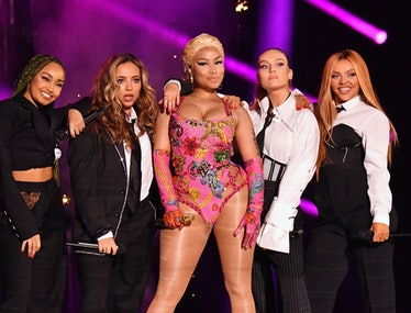 Leigh-Anne Pinnock, Jade Thirlwall, Perrie Edwards and Jesy Nelson of Little Mix perform on stage w...