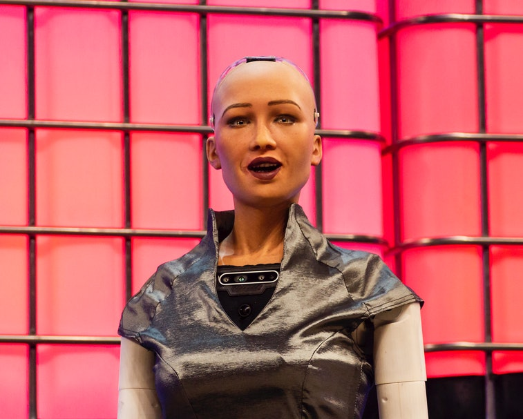 Sophie the robot during the Web Summit 2018 in Lisbon, Portugal on November 7, 2018. (Photo by Rita ...