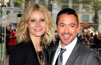 Gwyneth Paltrow and Robert Downey Jr (left) arrive for the UK charity premiere of Iron Man at the Od...