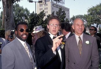 LOS ANGELES - JUNE 21:   Actor LeVar Burton, actor Brent Spiner and actor Patrick Stewart attend the...