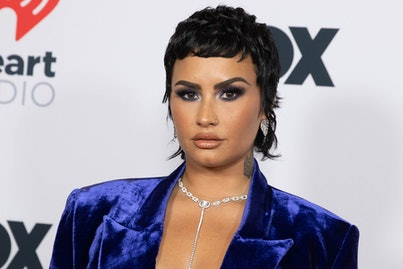 LOS ANGELES, CALIFORNIA - MAY 27: Demi Lovato is seen arriving at the 2021 iHeartRadio Music Awards ...