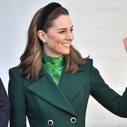 Kate Middleton wears emerald green coat, Allesandra Rich green printed dress, and a headband on Marc...