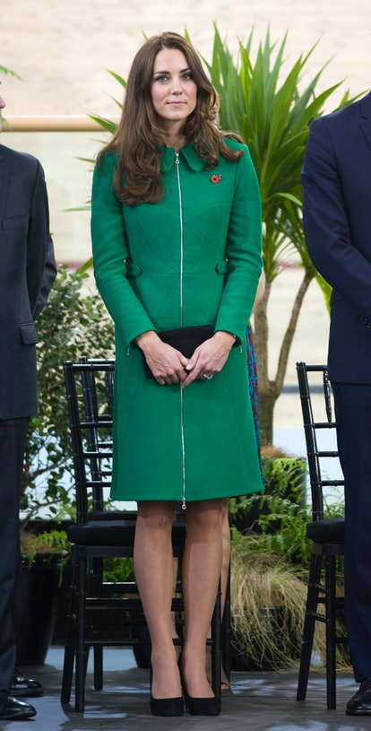 Kate Middleton wears Erdem Allie green coat.