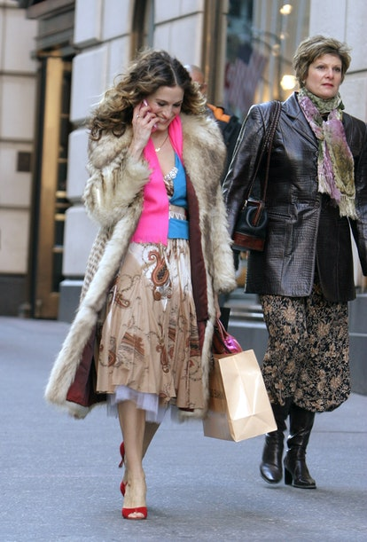 Sarah Jessica Parker (left) during Sex and the City - Final Day of Taping - Fifth Avenue - February ...