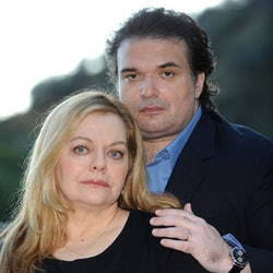 Brittany Murphy's husband Simon Monjack poses with her mom Sharon Murphy for a 2010 photoshoot.