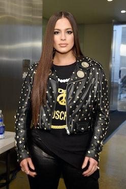 Ashley Graham wearing a black Moschino leather jacket.