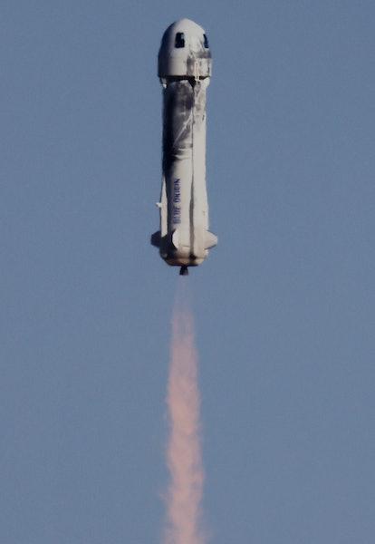 VAN HORN, TEXAS - OCTOBER 13: Blue Origin's New Shepard Blue Origin's New Shepard flies toward space...