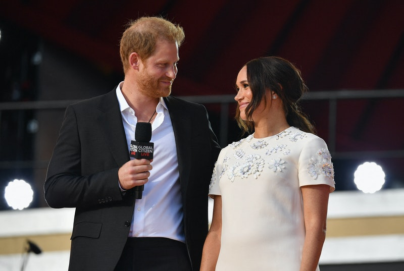Britain's Prince Harry and Meghan Markle speak during the 2021 Global Citizen Live festival at the G...