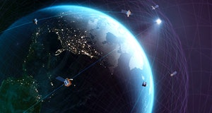 Global satellite communications. Conceptual representation of a global network of communications sat...
