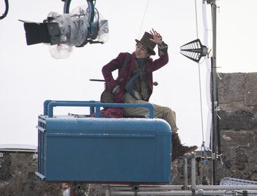 Timothée Chalamet is seen as Willy Wonka during filming for the Warner Bros and the Roald Dahl Story...
