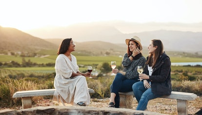 Shot of three women drinking wine while sitting by a fire pit