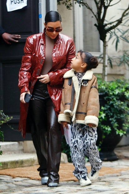 Kim Kardashian and her daughter North West pictured at the Cafe de Flore in Paris March 02, 2020 in ...