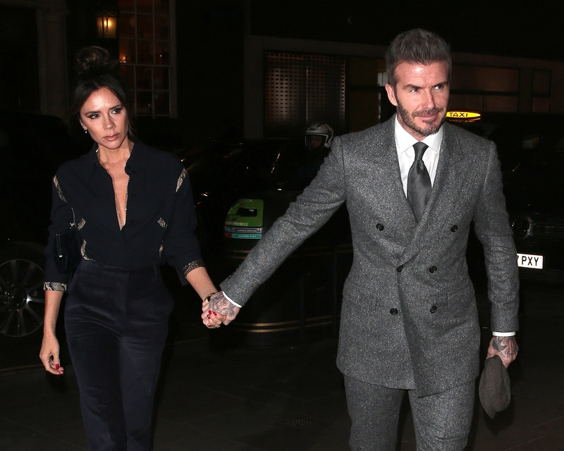 LONDON, ENGLAND - JANUARY 07: Victoria and David Beckham seen attending GQ Dinner during LFWM Januar...