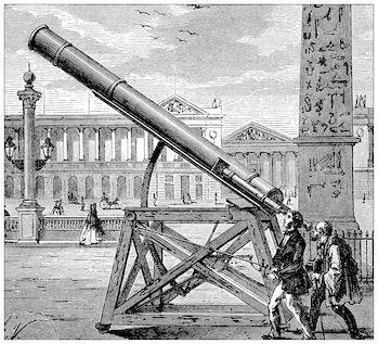 Antique illustration of scientific discoveries, experiments and inventions: Optics, telescopes