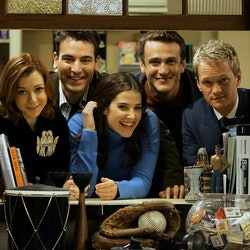 """The cast of """"How I Met Your Mother"""" photographed on the set of the TV sitcom in 2005."""