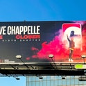 HOLLYWOOD, CA - OCTOBER 09: General view of a Netflix billboard above Hollywood Blvd promoting Dave ...